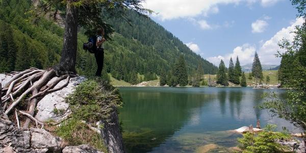 Hiker at Valagola lake