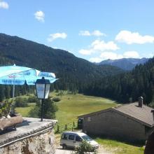 Pause vor der Trailabfahrt auf der Albert-Link-Hütte