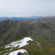 Vom Kreuzeck Richtung Kleines Hochkreuz, Hochkreuz, im Hintergrund die Lienzer Dolomiten