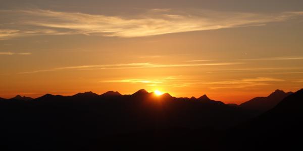 Sonnenuntergang am Stripsenjochhaus