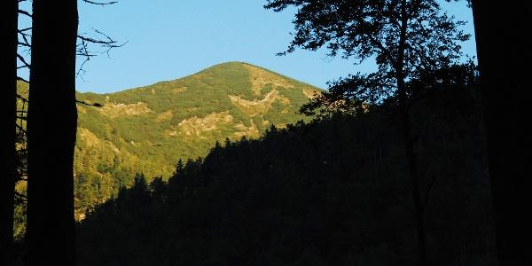 Der Kleine Göller im Morgenlicht beim Aufstieg auf den Waldhüttsattel