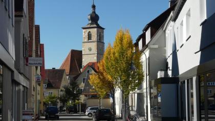 Schulstraße mit der Johanneskirche in Crailsheim