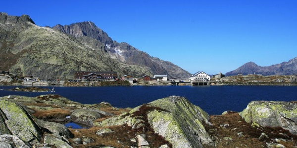 Grimsel pass with lake and hospice