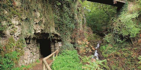 Vulkan-Rad-Route Eifel_Käsegrotte in Bad Bertrich, ein Gebilde säulenartig erkalteter Lava