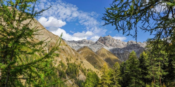 Blick vom Höhenweg zum Piz Fier in der Val Trupchun
