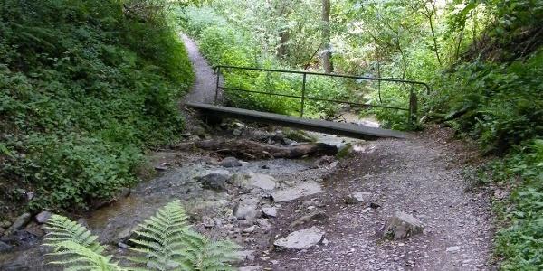 Eine kleine Brücke führt über den Urbach, der sich tief ins Tal eingeschnitten hat.