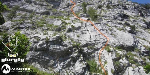 Weberknecht in der Diesbachwand - Topo - Route in Foto