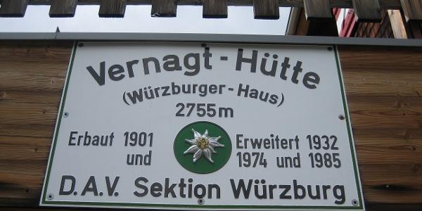 Hüttenschild Vernagt- Hütte