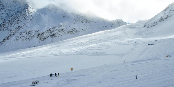 Langlaufloipe am Gletscher