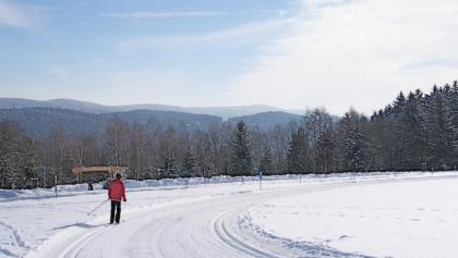 Sonnenloipe Maibrunn mit Blick zum Hirschenstein
