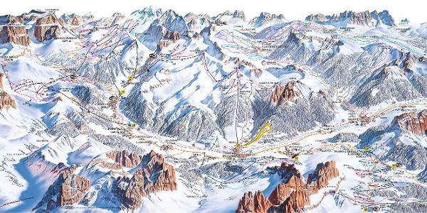 Pistenpanorama Val di Fassa/Carezza