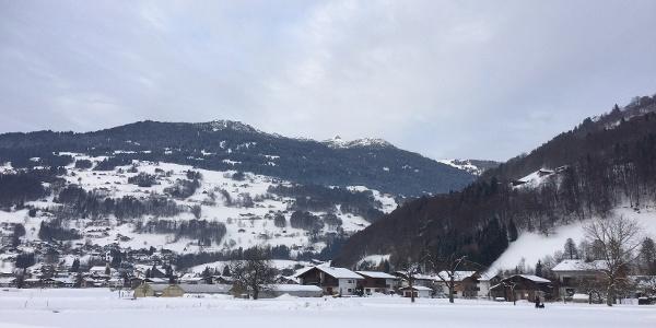 Schrunser Feld mit Blick auf den Bartholomäberg