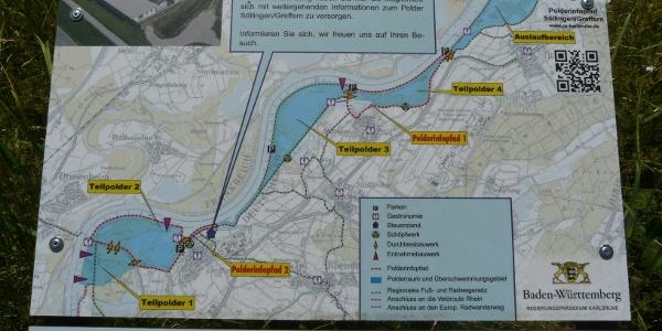 Infotafeln geben einen Überblick über den Polder Söllingen/Greffern