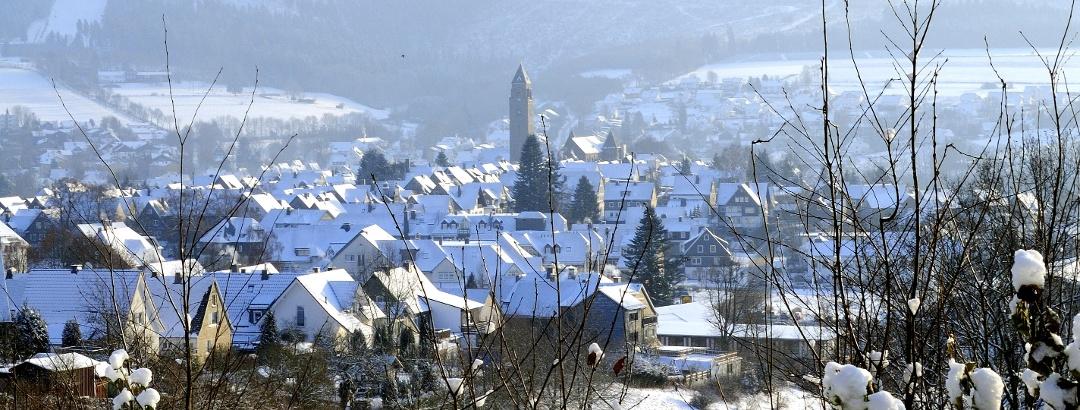 Blick auf winterliches Schmallenberg.
