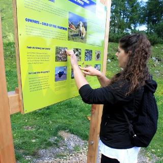 Infotafeln an jeder Station geben nützliche Informationen zu den Herdetieren und ihrer Umgebung.
