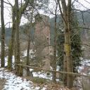 Elmstein: Blick vom Rundweg 6 auf die Burgruine