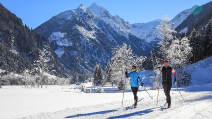 XC skiing out of Untertal valley - the Klafferkessel summits in the backdrop