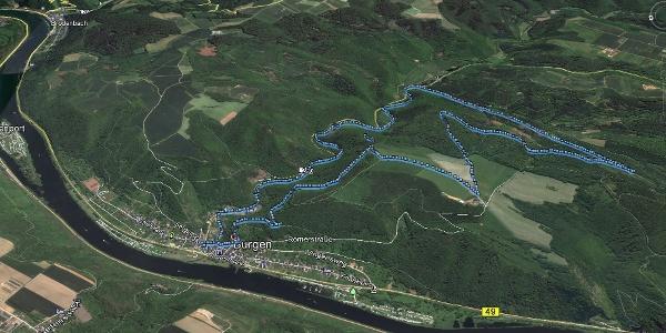 3D Bild der Wanderung von Burgen durchs Baybachtal