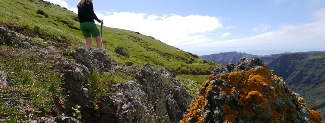 Caminando por lo alto del Valle Gran Rey en dirección a La Vizcaína