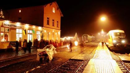 Lichterglanz am Bahnhof Schlettau