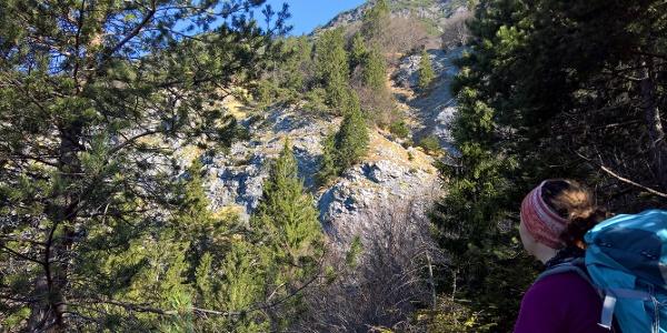 Über diese Felswände geht es oberhalb entlang