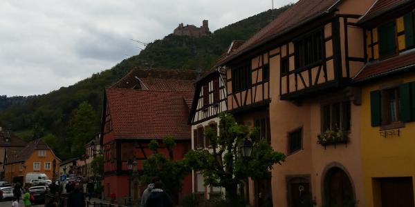 In Ribeauville mit Blick auf die Burg St. Ulrich