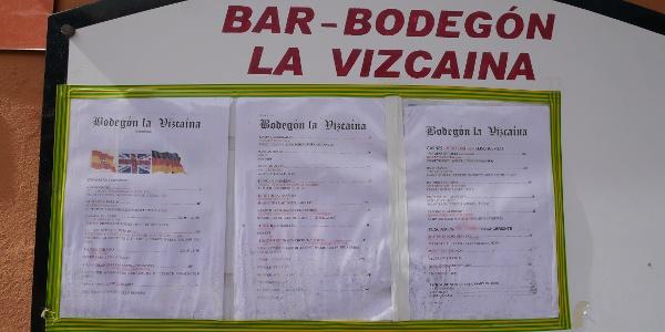 Menú del Bar-Bodegón La Vizcaína