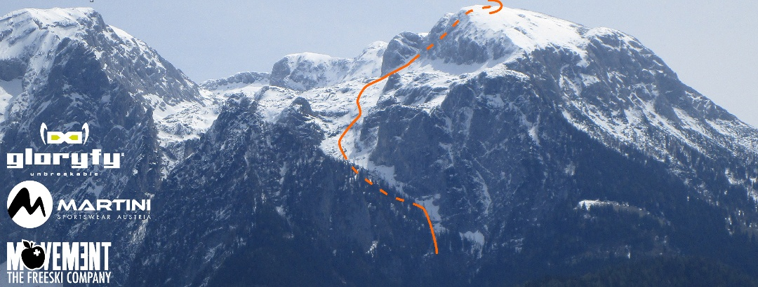 Hohes Brett - Übersichtsbild der Skitour durch das Alpeltal - Topo
