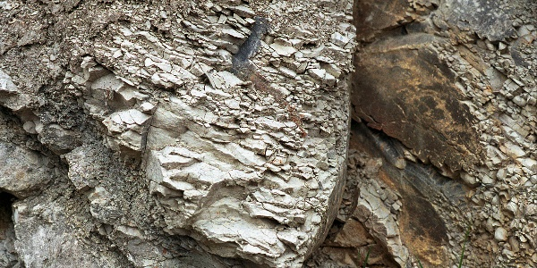 Die Kalksteinschichten an der Felswand sind nicht nur steil hochgestellt, sondern sogar überkoppt, so dass die Unterseite nach oben zeigt