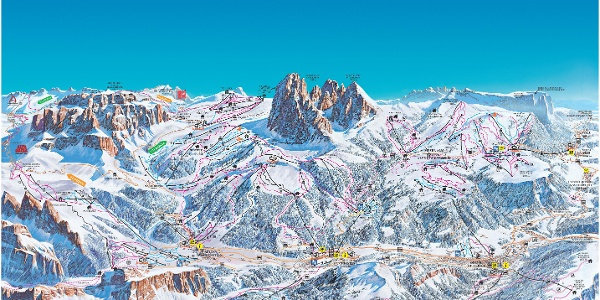 Cartina sciistica Val Gardena/Alpe di Siusi 2017