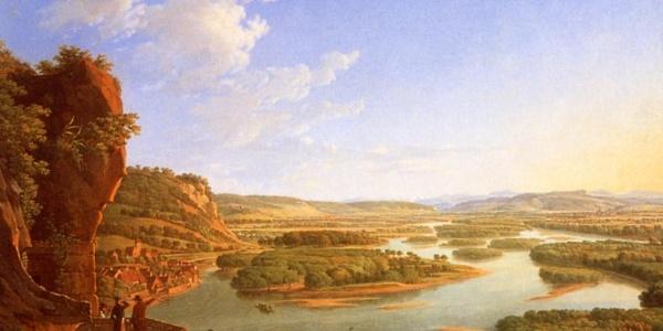 Notre rêve - Gemälde von Peter Birmann 1819 Blick vom Isteiner Klotz rheinaufwärts