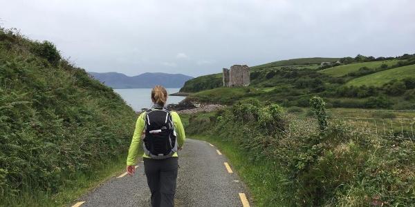 Walking Toward Castle Ruins