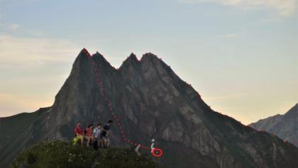 Grober Routenverlauf der Tour ab der Biwakschachtel (roter Kreis)