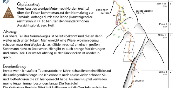 Topo Klettertour Prechtig an der Torsäule (Hochkönig)