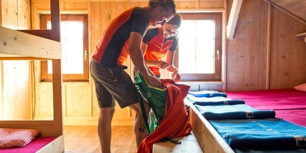 Matratzenlager in der Tuxerjoch-Hütte des ÖTK