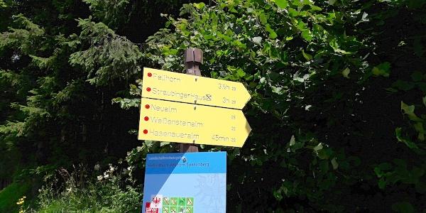 Hinweisschilder am Start