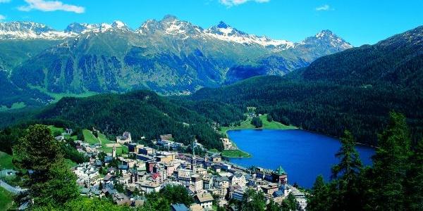 Blick auf St.Moritz (Startpunkt der Route)