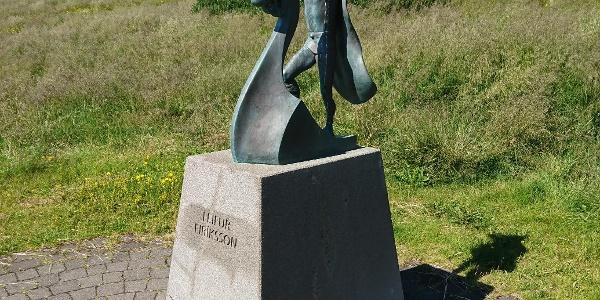 Die Statue von Leifur Eiriksson im Freiluftmuseum