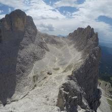 Aussicht auf Rosengartenspitze, Santnerpass, Laurinswand und unten die Gartlhütte