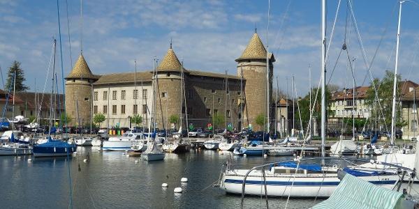 Schloss und Hafen von Morges.