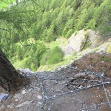 Netz am Ende des Klettersteigs