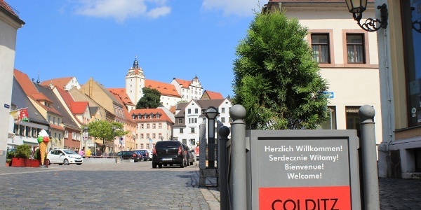 Blick auf Markt und Schloss Colditz