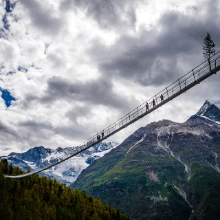 The longest suspension bridge in the world above Randa