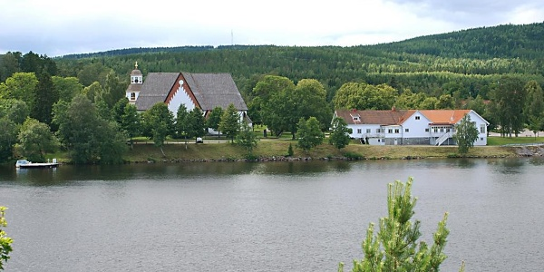 The Church of Arbrå, seen from the other side of the river Ljusnan