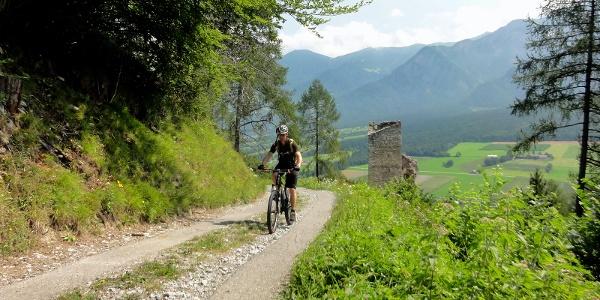 Aufstieg mit Ruine Haldenstein im Hintergrund