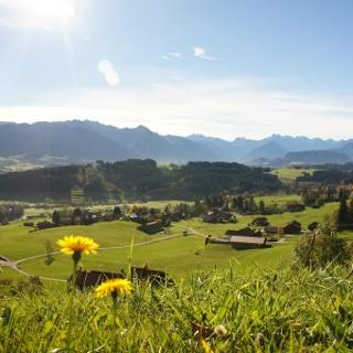 Aussicht auf Hüttenberg bei Ofterschwang