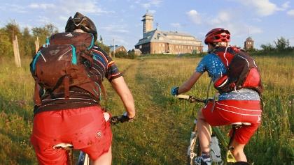 Radfahrer auf dem Fichtelberg