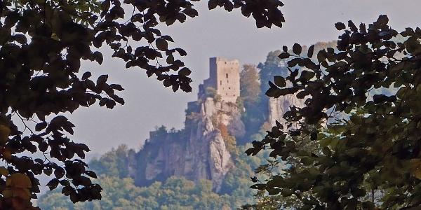 Blick vom Bahnhöfle zur Burgruine Reußenstein