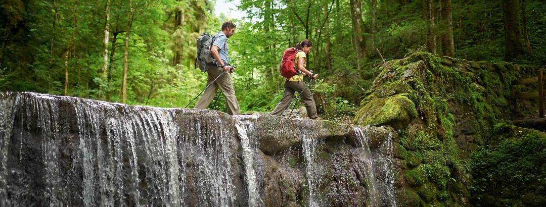Hiking across a waterfall