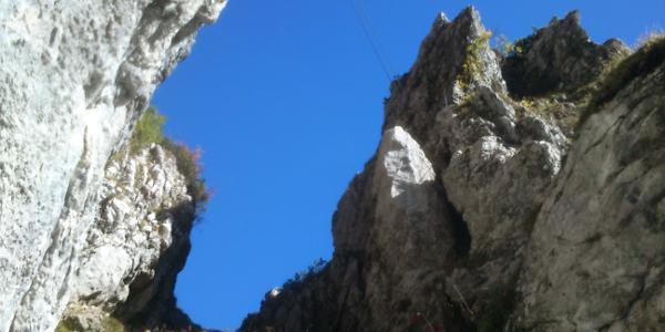 Die Seilbrücke am Klamml-Klettersteig